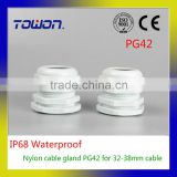PG42 Waterproof Nylon Plastic Cable Gland Connector for 32-38mm Cable white color Hot Sale IP68 Factory wholesale