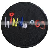 Circle embroidery border canvas fabric plain badges