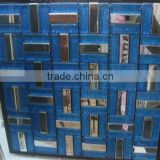 Foshan strip cheap price laminate crystal glass mixed brushed stainless steel mosaic tile                                                                                                         Supplier's Choice