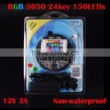 5M SMD 5050 150Leds Non waterproof RGB LED Strip + 24 Key + 12V 3A Transformer red/green/blue/yellow/pink/uv/warm/cold white 12V