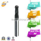 CNC milling manufacturer for sale, HRC55 2 flute ball nose solid carbide cnc milling cutter