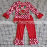 Trendy winter newborn baby cotton red reindeer long sleeve top christmas boutique outfits