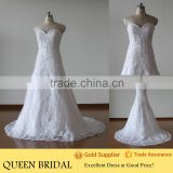 Newest Style Sweetheart Lace Up Back Appliqued Lace Sequined Brazilian Wedding Dresses