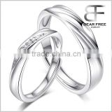 Love Waves Shape Cubic Zirconia 925 Sterling Silver Couples Adjustable Rings for Engagement/Promise