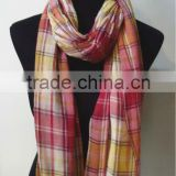 100% Cotton Checked Pattern Scarf With Fringe