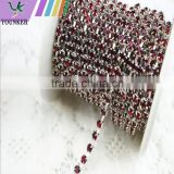 3 FEET 1Yard 3mm Silver Plated Red/Siam Rhinestone Chain Trims Cup Chain Wedding Garments Decoration Details: