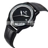 SKONE 9241 fashion leather black face bling crystal watches
