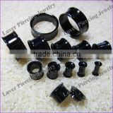 Fashion Design Black Anodized High Polish Stainless Steel Ear Flesh Tunnel Plug [AS-650A]