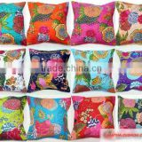 Indian kantha cushion cover Cotton Pillow Handmade Bohemian Cushions Indian Decorative pillow