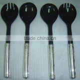 High quality mix black buffalo horn with white metal handle salad spoon set made in viet nam
