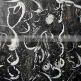 China Gangsaw Slab Polished Surface 2cm Thickness Cheap Sea Shell Black Marble                                                                         Quality Choice