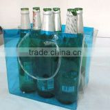 Portable clear blue pvc 6 pack beer bottle bag