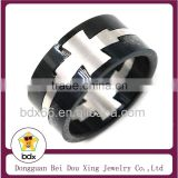 Top Quality Fashion Christians Rosary Jewelry Black & Silver Two Tone Stainless Steel Religious Couple Jesus Cross Finger Rings