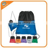 Sport drawstring backpack bag, plastic drawstring garbage bag