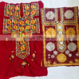 More Designs More Patterns Indian Banjara Hand embroidered mirror work Floral embroidery tunic dress yoke top