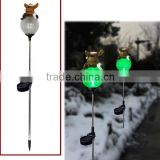 Christmas decoration polyrein reindeer on cracked glass ball with stainless steel solar garden light