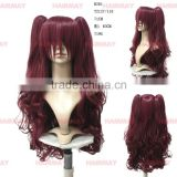 Wine red streak hair color synthetic big curly cheap synthetic cosplay wigs