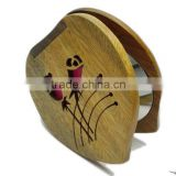 Decorative round wood travel hand makeup mirror for ladies