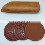 Boshiho vintage PU blank leather coaster