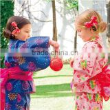 Japanese Summer 100%cotton Cute Kimono Kids Yukata twinset bath robe flower customize ethnic costume performance wear