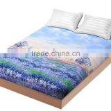 1PCS Fitted Sheet Bed Covering Purple Luxury Mattress Cover Protector Twin Full Queen King Size