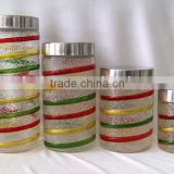 colored beautiful with metal lid glass storage jar
