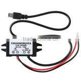 Waterproof DC Converter 12V to 5V 3A 15W Power Supply with mini usb connector