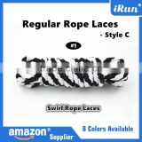 Black White Hot Sale Round Rope Athletic Exercise Shoelaces - Swirl Hiking Rope Strong Firmly Boot Laces - Amazon Supply