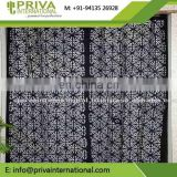 cotton printed curtain , Handmade applique white curtains