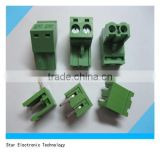90 degree green 2 pin male female 5.08mm pitch spacing screw terminal block pluggable type