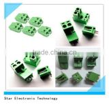 Nylon PA66 green 2 pin pole pcb mount screw 5.08mm pitch pluggable terminal block right angle