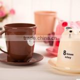 2016 wholesale Creative cute cartoon animals with cover pp plastic cups of coffee for breakfast