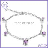 Fashion Jewelry High Quality Violet Purple Crystal Birthstone Girls Lucky Charm Anklet