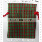 Checked velvet gift pouch/present bags/packing bag for presents wrapping