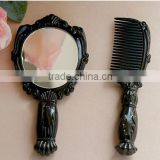 Birthday gifts of Vintage Butterfly pattern Cosmetic Mirror Plastic black Makeup Mirror with Comb set