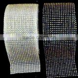 Rhinestone Trims with 10 yards in Plastic Ribbon, Fashion Elastic Stretch Rhinestone Trimming Rolls Sheets for Party Decoration