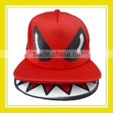 2016 New Design Products Bros Mr Shark Open Mouth Baby Lion Embroidery Adjustable Snapback Polyester Mesh Red Cap