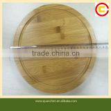 High quality round bamboo cheese board with cheese knives set