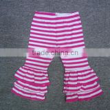 Hot boutique stripes triple ruffle pants kids / wholesale knit ruffle pants good quality