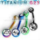 "Titanium G23 anodized banana belly ring w/ double gem - 14g, 3/8"", 5mm & 8mm balls"