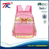Fairy Princess style rhinestone and golden bow decoration backpack cute high class student school bag