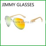 JMP614 2016 New Mirror Lens UV400 Metal Aviator Frame Bamboo Sunglasses