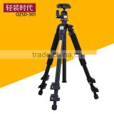 Q301Qingzhuang 2016 new portable low price camera tripod with gimbal damping ballhead digital aluminum photographic tripod Q555
