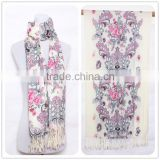 100% cotton Trendy Women Pink and White Comfortable Design Scarf Women Scarf,Square Tassel Scarf