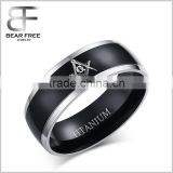 Titanium Mens Black Polished Comfort Fit Wedding Band Ring with Silver Beveled Edges & Masonic Symbol