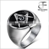 Mens Classic Freemason Masonic Stainless Steel Ring Black Silver Color