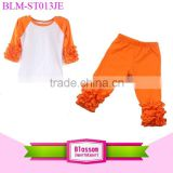 2016 Fall Boutique Orange Icing Raglan Knit Ruffle Capri Pants Sets Thanksgiving Day Children Outfits Halloween Girls Outfits