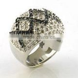 fashion black and white cz ring