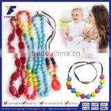 2016 Latest Design Fashion Beaded Long Necklace Silicone Baby Teether Necklace                                                                         Quality Choice