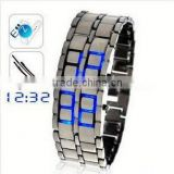 2013 stainless steel watch lava led display watch